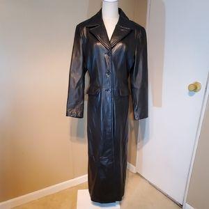 Wilsons Maxima Black Full- Length Leather Coat